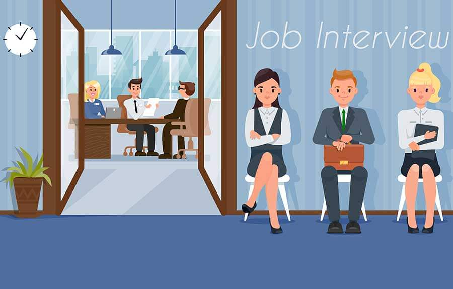 candidates attending interview after web designing course