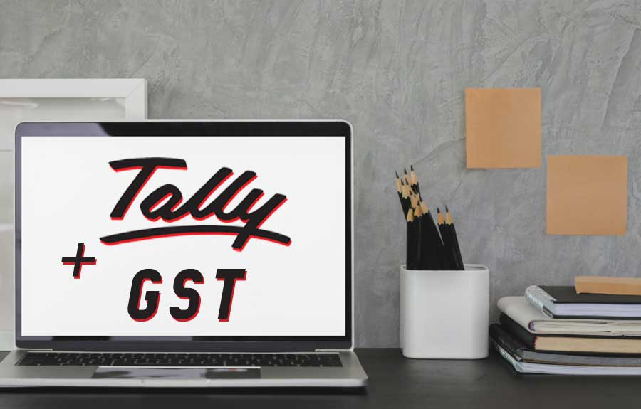 tally gst course presentation displayed on laptop screen
